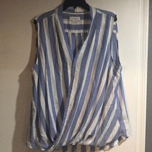 Blue and white striped Liz Claiborne blouse